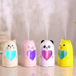 Wholesale Pig Cat Cartoons - New Cartoon Cat Pig Bear USB Ultrasonic Air Humidifier Mini Essential Oil Aroma Diffuser Aromatherapy Home Office SPA Mist Maker LZ0375