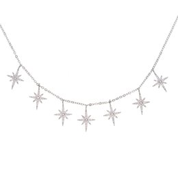 Wholesale Red Cubic Zirconia Necklace - factory custom fashion jewelry 2017 new arrived micro pave cz sparking blue north star star pendant charm choker chocker chain necklace