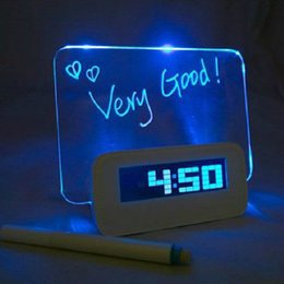 Wholesale Usb Message Board - New Luminous multifunction luminous fluorescent message board USB distributing box alarm clock LED wirtting Fluorescent Message board pen