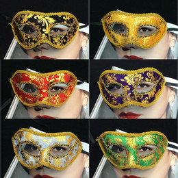 Wholesale White Cloth Mask - Hot Sale Unisex Masquerade Face Masks Gold Cloth Coated Halloween Party Mask Mix Order Venetian Carnival Face Mask