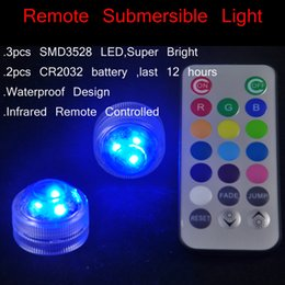 Wholesale Led Submersible Lights White - 10pcs Lot Multi-color Remote Controller Led Round Shape Submersible LED underwater Flower LED Light for Glass Vase Decoration