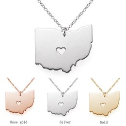 Wholesale Puzzles Map - Hot Sale Jewelry U.S.A 50 States Stainless Steel Map Puzzle Ohio Pendant Necklace For Man Woman Kids