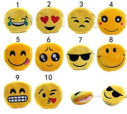 Wholesale Cute Womens Bag - 10 Design QQ Expression Coin Purses Cute Emoji Coin Bags Plush Pendant Womens Girls Creative Chirstmas Gifts High Quality 11cm B001
