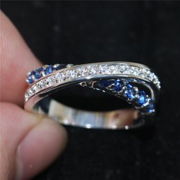 Wholesale 925 Rings Blue Heart - Fashion Blue Sapphire Cubic Zirconia Gemstone Female Jewelry 925 Sterling Silver Crossed Wedding Engagement Band Rings For Women