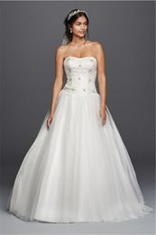 Wholesale Crystal Dropped Waist Bridal Gowns - Strapless Beaded Tulle Ball Gown Crystals Wedding Dress WG3798 Princess Drop Waist Bridal Gown