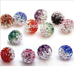 Wholesale Shamballa Crystal 12mm - 100pcs mixed Disco Ball Pave CZ Crystal Spacer Beads Fit Shamballa Bracelet 8-12mm