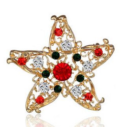 Wholesale Diamond Star Brooch - High Quality Christmas Gift Brooches Embroided Drill Star Pattern Jewelry Gold Plated Hollow Out Brooch New Style