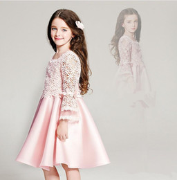 Wholesale Girls Pageant Dreses - Pink Flower Girl Dresses For Wedding Jewel Long Sleeve Lace Pageant Dresses Kids Formal Wear Knee Length A Line Princess Communion Dreses