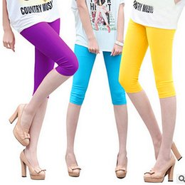 Wholesale Women Korean Style Flat - Korean Fashion Woman Clothe Simple Style Candy Color Elastic Capri Pants Casual Skinny Plus Size Leggings for Woman