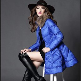Wholesale Brand Coat Skirt - Top Quality New 2017 Winter Jacket Women Temperament Long Slim Real Fur Warm Duck Down Jackets Female Outwear Fashion Brand Thick Coats