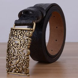 Wholesale Black Floral Jeans - Wholesale- Hollow Designers Luxury Flower Female Strap Brand Genuine Leather Floral Carved Dress Belts for Women Cowskin for Jeans Black