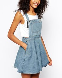 Wholesale Overall Denim Dress - 2016070601 Fashion summer 2016 Womens Elegant pocket strap Denim Dress sleeveless casual Overalls dresses female vestidos femininos