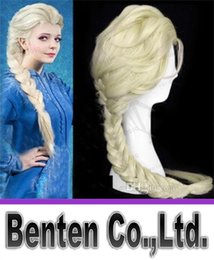 Wholesale Long Blonde Cosplay - Hot Princess Frozen Snow Queen Elsa Weaving Braid Light Blonde Cosplay Wig Children Adult Snow Queen Gold Long wigs Gift LLFA