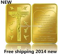 Wholesale Gold Coins 24k - 10pcs lot 24k Gold Replica .Free shipping 999 Jesus Christ 10 Commandments BULLION Bar ,gold clad coin,challenge gold coins
