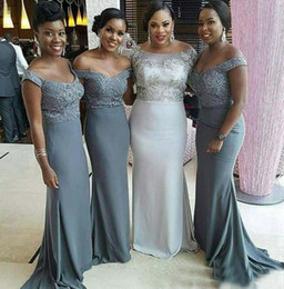 Wholesale Grey African Lace - Cheap Off the Shoulder Grey Bridesmaid Dresses 2017 Plus Size African Maid Of Honor Gowns Junior Formal Wedding Guest Dress Short Sleeves