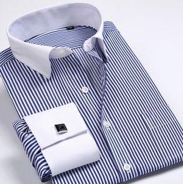 Wholesale Men Fashion Formal Shirt - Wholesale-5XL6XL Tuxedo Shirt French cuff shirts Men Shirts New Luxury Long Sleeve Brand Formal Business Fashion Dress shirts Plus size