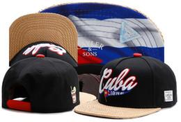 Wholesale Men S Black Baseball Caps - New brand C&S CUBA LIBRE CAP Cuban flag black baseball cap snapback hat sports hip hop adult sun active cap for men women bone