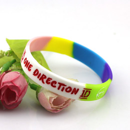 Wholesale One Direction Glow - wholesale bulk lots mixed 30pcs one direction 1D high quality silicone rubber band cuff wristband bracelets