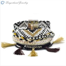 Wholesale Brazilian Magnetic - Wholesale-FINGERHAND Magnetic Wrap Braided Brazilian Bracelet Multilayer Bohemia Ipanema