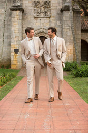 Wholesale Tuxedo Coats Tails - Wholesale- Custom made tuxedos men wedding suitsBespoke Men Suits Peaked Lapel Beige Swallow Tailed Coat Terno Masculino Bridegroom Bestmen