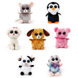 Wholesale Plush Toy Big Dog - TY Plush Dolls 22cm Ty Beanie Boos Cat Dog Rabbit Animal Big Eye Stuffed Plush Toys Pre Sell LJJO3676