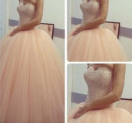 Wholesale White Ball Gowns Prom Debutante - 2017 Cheap New Peach Blingbling Sequins Bodice Ball Gown Quinceanera Dresses Tulle Vestidos Debutantes De 15 Anos Sweet 16 Party Prom Gowns