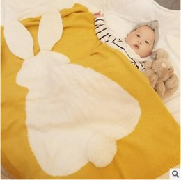 Wholesale Knitted Baby Blanket Boy - Baby Blanket Kids Autumn Rabbit Knitted Blanket Baby Boys Girls Winter Big Ears Warm Bunny Swadding Girls Soft Bed Blankets Free Shipping