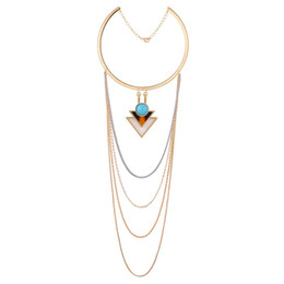 Wholesale Triangle Tassel Necklace - Western Hot Sales Turquoise Triangle Multi-layer Bohemian Tassel Chains Choker Necklace Female Accessories Gift For Women
