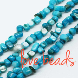 Wholesale Pearl Loose Stones - 5mm-8mm Irregular Square Lake Blue Natural Mother Of Pearl Gravel Beads Stone Loose Beads Strand 80cm Free Shipping(F00313) wholesale