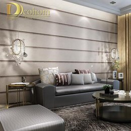 Wholesale Wall Textures Modern - Striped Marble Textures Wallpaper For Wall 3 D Embossed Designs Modern Living room Bedroom Decoration Grey Wall paepr Rolls