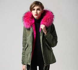 Wholesale Military Hooded Parka - herr fru furs winter coats women green Military jackets Short Down Parkas with Real Raccoon fur + rabbit furs Lining