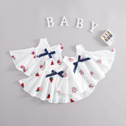 Wholesale Knee Length Plum Dress - New Princess Clothing Dress Watermelon Plum Blossom Flower Embroidered Kids Clothes Dress Sleeveless Dresses Casual Cute Girls Dresses A7585