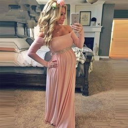 Wholesale Formal Gown Long Stretch - 2017 High Quality Arabic Vintage Evening Party Gown Formal Pink Pregnant Spandex Stretch Elegant Long Sleeves Soft Prom Gown