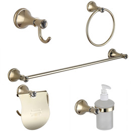 Wholesale Copper Bathroom Accessories Sets - Luxury Crystal Bathroom Accessories Sets Gold USD304 Stainless Steel and Copper Bathroom Hardware with Wall Mounted