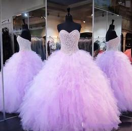 Fotos de vestido vintage online-2017 Lavender Vintage vestido de bola Vestidos de quinceañera Real Pictures Sweetheart apliques de encaje Tulle Girl Sweet 16 Bodas noche vestidos de fiesta