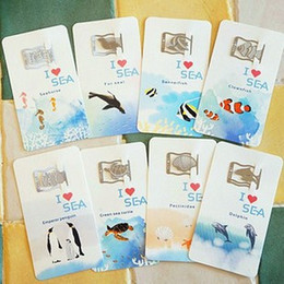 Wholesale Metal Line Marker - Wholesale-Free shipping Cute sea animal bookmarks 16 pcs set metal Book line marker Stainless steel 8 style  Set Novelty funny Gifts
