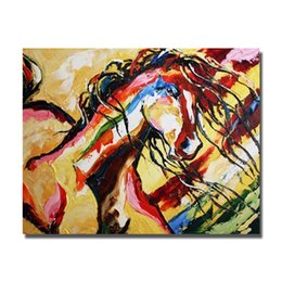 Wholesale framed horse art abstract - Hand painted Abstact Horse Wall Painting Modern Canvas Art Home Decor Living Room Wall Pictures Animal Oil Painting 1 Peices No framed