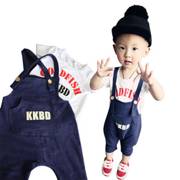Wholesale Boys White Suspenders - PrettyBaby 2016 summer boys clothing sets white T-shirt blue suspenders short sleeves letter style kids clothes free shipping