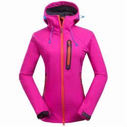 Wholesale Cheap Winter Waterproof Jackets - Wholesale-2016 Fashion New Outdoor Softshell Jacket Women Camping Hiking Jackets Windstopper Waterproof Rain Warm Winter Cheap Clothing