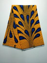 Wholesale African Fabrics Yellow - 6 Yards pc Charming yellow African painting blue splash pattern hollandais super batik Negeria wax fabric for clothing VH95