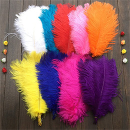 Wholesale Wholesale Red Feathers - wholesale10 Pcs 14-16Inches 35-40cm High Quality Ostrich Feathers Used For DIY Jewelry Craft Making Wedding Party Decor 11 Colors