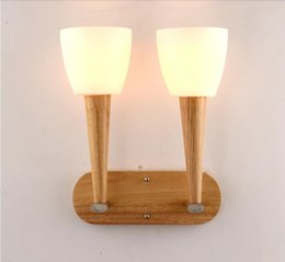 Wholesale North Europe Lighting - North Europe style led wall lights double heads wood wall sconces Bedroom livingroom Indoor led living room light