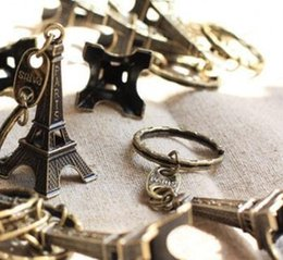 Wholesale Wedding Party Favor Keychains - Wholesale- 1pc Paris Eiffel Tower Keychains Bronzed 5cm Height Metal Creative Model Keyring For Christmas Gift