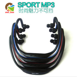 Wholesale Mp3 Sd Tf Headset - Sports MP3 Handsfree Wireless Headphone Headsets in-ear earphone Micro SD TF FM MP3 Music Player 4color with retail box