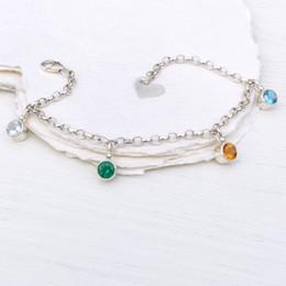 Wholesale Orange Blue Gemstones - Bridal Jewelry Gemstone 925 Silver Charm Bracelet Bracelet with color zircon Beach wedding bracelet Wedding Gifts