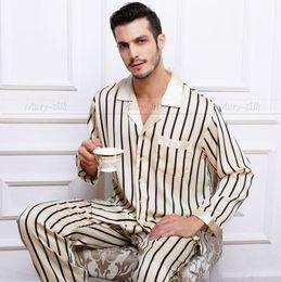 Wholesale Pajama Shirt Satin - Wholesale-Mens Silk Satin Pajamas Set Pajama Pyjamas PJS Set Sleepwear Loungewear S,M,L,XL,2XL ,3XL Pants Strip Plus