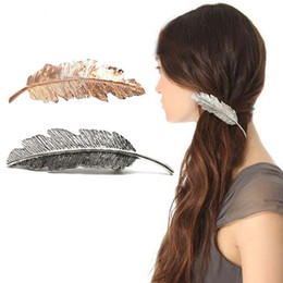 Wholesale Ladies Hairpins - New Fashion Women Leaf Hairpin Gold Sliver Ladies Retro Spring Hair Clip 12PCS Lot Feather Decorate Accessories