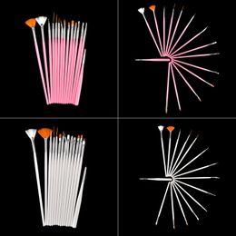 Wholesale Uv False Nail Kit - New 15pcs Nail Art Decorations Brush Set Tools Kit Professional Painting Pen for False Nail Tips UV Nail Gel Polish White & Pink 0603027