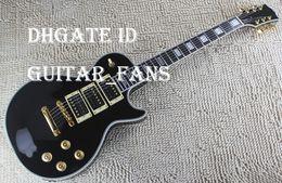 Guitarra de ébano de china online-VENTA CALIENTE Custom Peter Frampton Signature Ebony Fingerboard Guitarra Eléctrica, Hardware de Oro 3 Pastillas Negro China Guitar Factory Direct