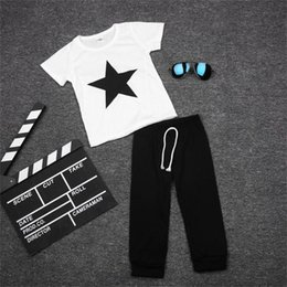 Wholesale Shirts Stars For Kids - Star Boys Sport Suits Baby Boy Clothes Set for boy 2016 Summer T-Shirts Kids Tracksuit Tees Shirts Trouser Sets Boys Clothing
